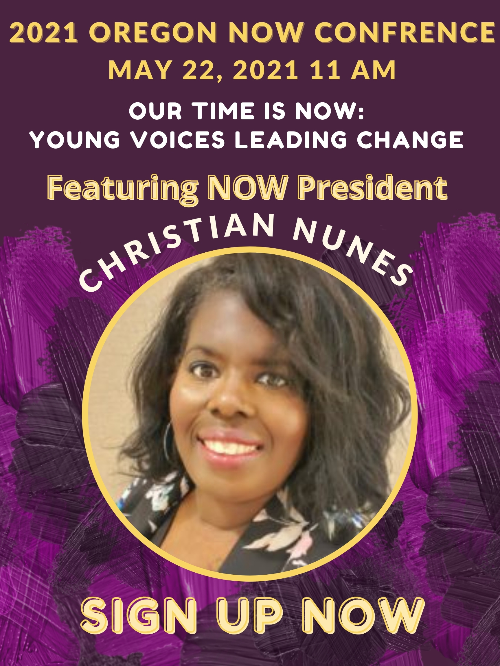 Flyer featuring National NOW President Christian Nunes
